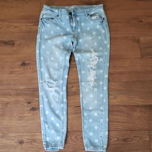 Distressed Polka Dot Skinny Jeans